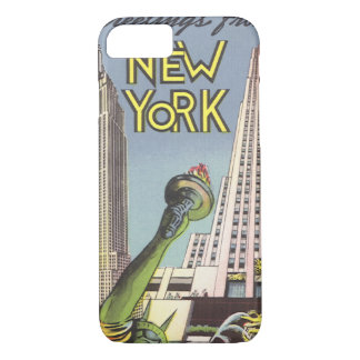 Vintage Travel, Famous New York City Landmarks iPhone 8/7 Case