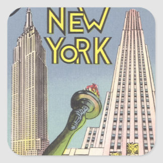 Vintage Travel, Famous New York City Landmarks Square Sticker