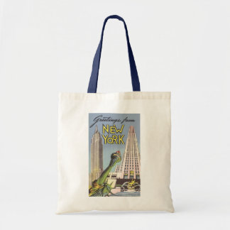 Vintage Travel, Famous New York City Landmarks Tote Bag
