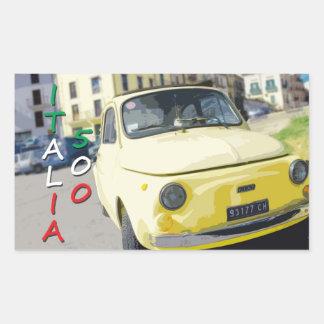 Vintage Travel Fiat 500 Cinquecento, Italy, Yellow Rectangular Sticker