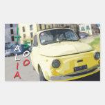Vintage Travel Fiat 500 Cinquecento, Italy, Yellow Sticker