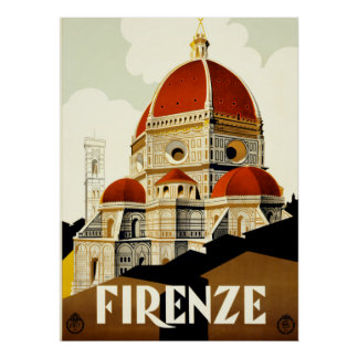 Vintage Travel Firenze Italy Print