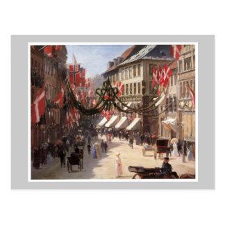Vintage Travel Flag Day Denmark Postcard