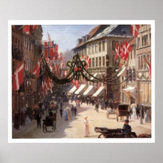 Vintage Travel Flag Day in Copenhagen Denmark Poster