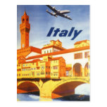 Vintage Travel Florence Firenze Italy Bridge River