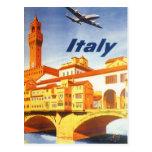 Vintage Travel Florence Firenze Italy Bridge River Postcard