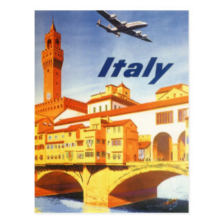 Vintage Travel Florence Firenze Italy Bridge River Postcard