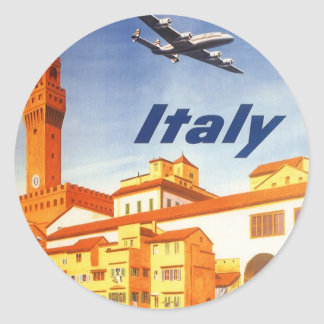 Vintage Travel Florence Firenze Italy Bridge River Round Sticker