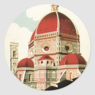 Vintage Travel Florence Firenze Italy Church Duomo Classic Round Sticker