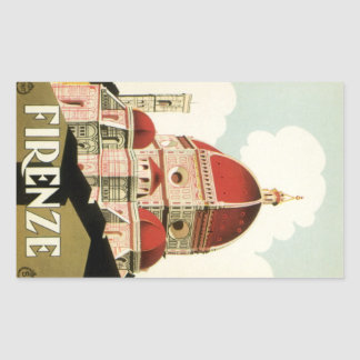 Vintage Travel Florence Firenze Italy Church Duomo Rectangular Sticker