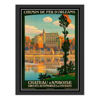 Vintage travel France, Amboise Castle - Postcard