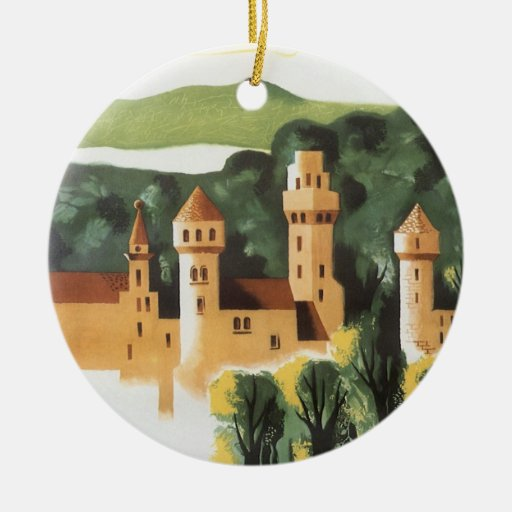 Vintage Travel, German Castle, Bavaria Germany Round Ceramic Decoration