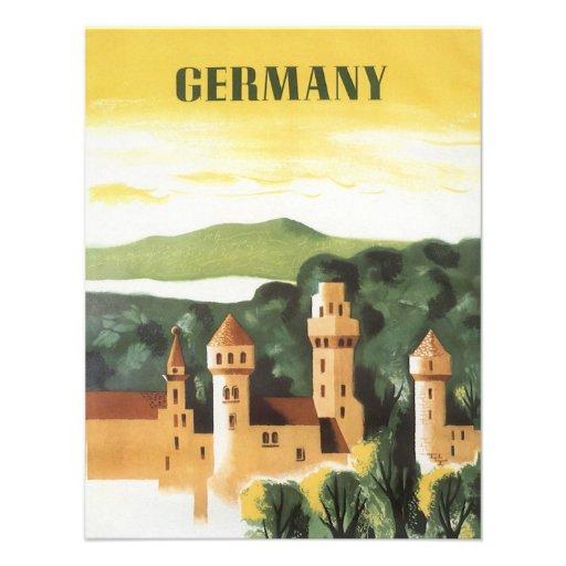 Vintage Travel, German Castle, Bavaria Germany Personalized Announcement