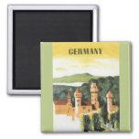 Vintage Travel, German Castle, Bavaria Germany Square Magnet