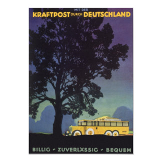 Vintage Travel, Germany, Yellow Bus at Night 13 Cm X 18 Cm Invitation Card