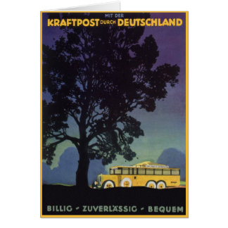 Vintage Travel, Germany, Yellow Bus at Night Greeting Card