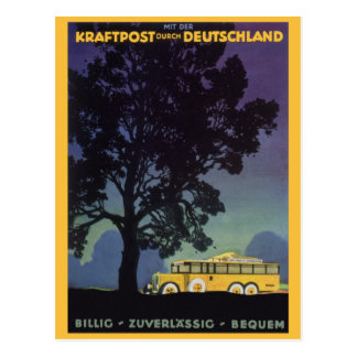 Vintage Travel, Germany, Yellow Bus at Night Postcard