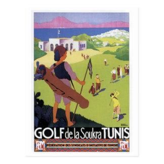 Vintage travel Golf de La Soukra Tunis Postcard