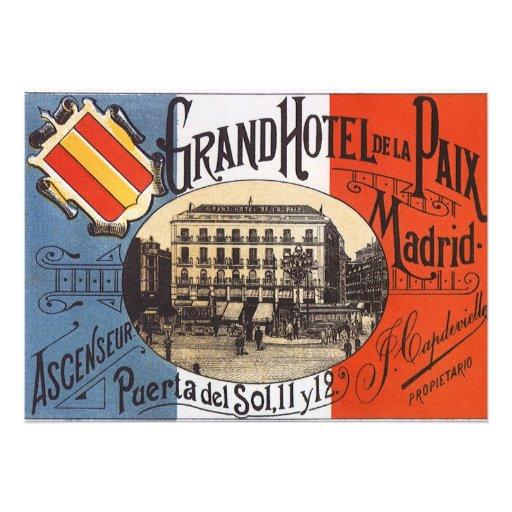 Vintage Travel, Grand Hotel Paix, Madrid, Spain Custom Announcements