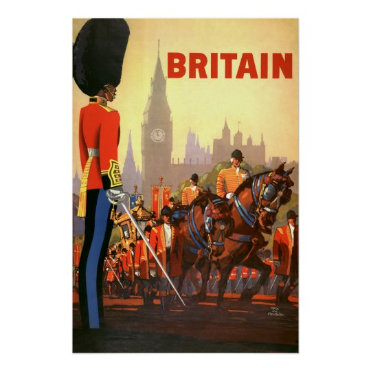 Vintage Travel, Great Britain England, Royal Guard Poster