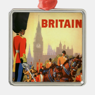 Vintage Travel, Great Britain England, Royal Guard Silver-Colored Square Decoration