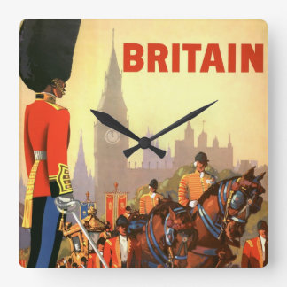 Vintage Travel, Great Britain England, Royal Guard Square Wall Clock