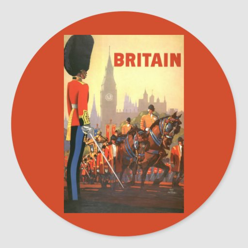 Vintage Travel, Great Britain England, Royal Guard Round Sticker