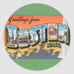 Vintage Travel Greetings from Boston Massachusetts Round Sticker