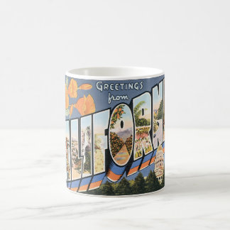Vintage Travel, Greetings from California Poppies Basic White Mug