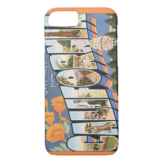 Vintage Travel, Greetings from California Poppies iPhone 7 Case