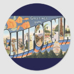 Vintage Travel, Greetings from California Poppies Round Sticker