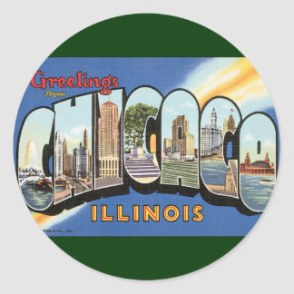 Vintage Travel, Greetings from Chicago Illinois Sticker
