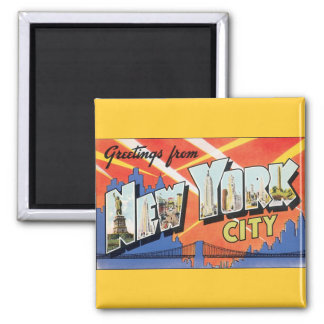 Vintage Travel, Greetings from New York City NYC Square Magnet