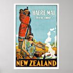 Vintage Travel Haere Mai to New Zealand Poster