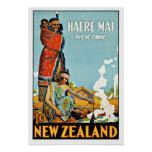 Vintage Travel Haere Mai to New Zealand Print