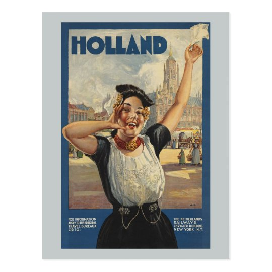 Vintage Travel Holland by Train Postcard