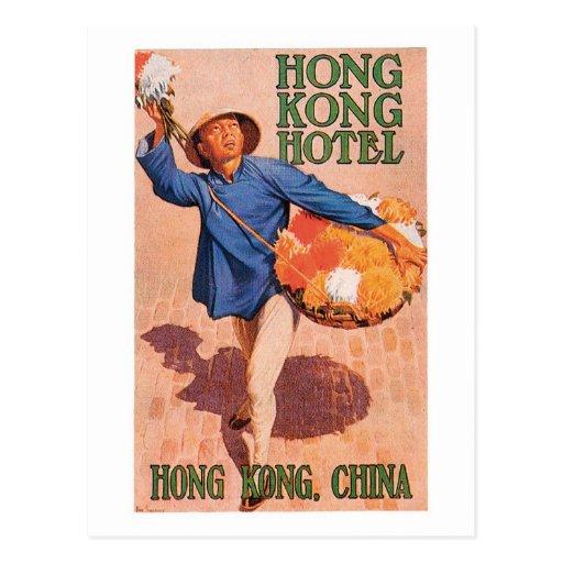 Vintage Travel Hong Hong China Hotel Label Art Post Card