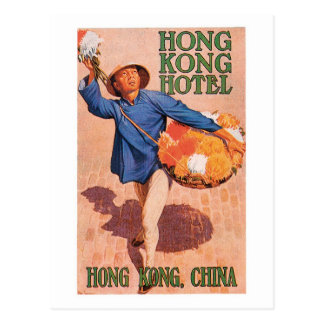 Vintage Travel Hong Kong China Hotel Label Art Postcard