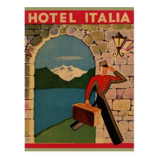 Vintage Travel - Hotel Italia Post Card