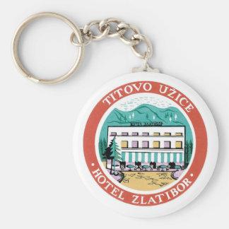 Vintage Travel Hotel Label Art Basic Round Button Key Ring