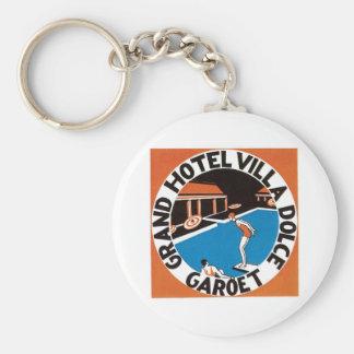 Vintage Travel Hotel Label Art Keychain