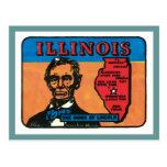 Vintage Travel Illinois IL State Label Art Post Cards