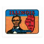 Vintage Travel Illinois IL State Label Art Post Card