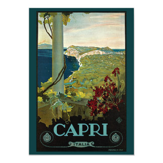 Vintage Travel, Isle of Capri, Italy Invitation