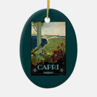 Vintage Travel, Isle of Capri, Italy Italia Coast Christmas Ornament