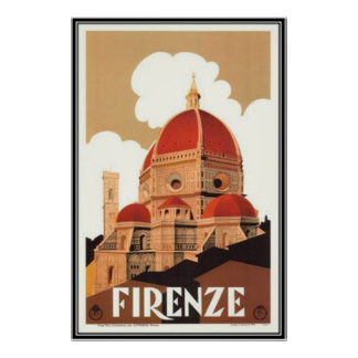 Vintage travel Italy, Florence - Poster