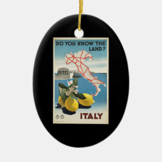 Vintage Travel Italy Map with Lemons Christmas Ornament