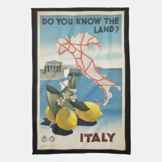 Vintage Travel Italy Map with Lemons Tea Towel