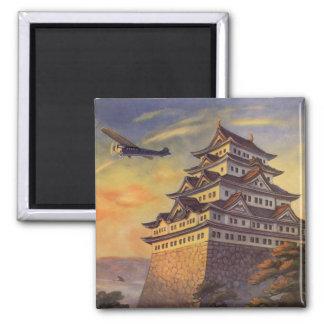 Vintage Travel Japan, Japanese Pagoda Airplane Magnet