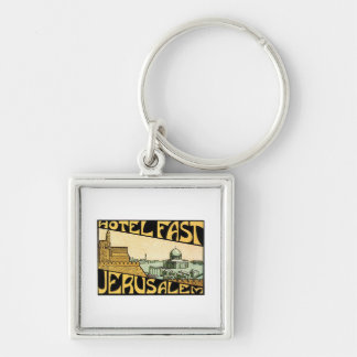 Vintage Travel Jerusalem Hotel Label Art Keychains